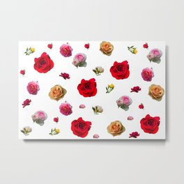 roses collage on white background Metal Print