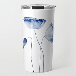 indigo poppy watercolor Travel Mug