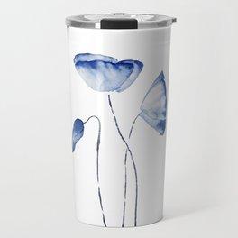 indigo poppy watercolor Travel Mug