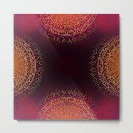 """""""Scarlet & Gold Mandala Deluxe"""" Metal Print"""