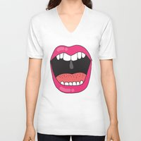 mouth V-neck T-shirts featuring MOUTH BREATHER by Matthew Taylor Wilson