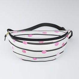 Blush pink black watercolor modern stripes polka dots Fanny Pack