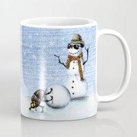 snowman Mugs featuring Snowman by Anna Shell