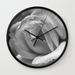 Flower Photography Black and White Rose Wall Clock