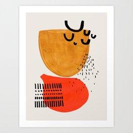 Summer Sun Mid Century Modern Abstract Minimalist Retro Vintage Style Fun Playful Yellow Ochre Orange Shapes Art Print