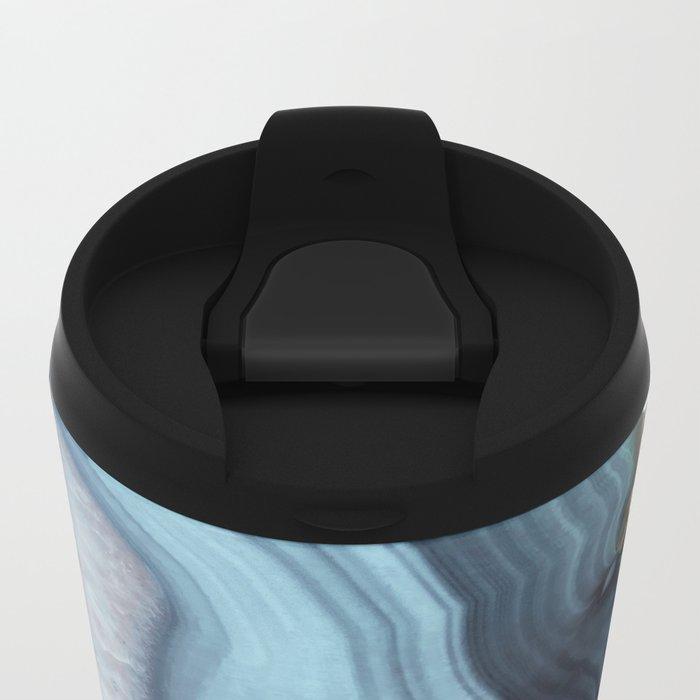 Light Blue Agate Metal Travel Mug