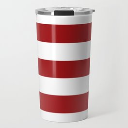 Spartan Crimson - solid color - white stripes pattern Travel Mug
