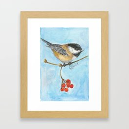 Chickadee On Berry Branch Framed Art Print