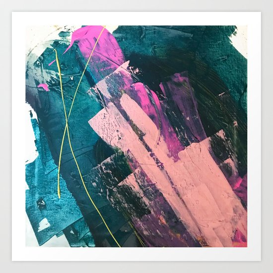 Wild [5]: a vibrant, bold, minimal abstract piece in teal, pink, and green by blushingbrushstudio