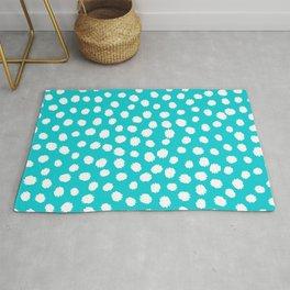 Keep me Wild Animal Print - Aqua with White Spots Rug