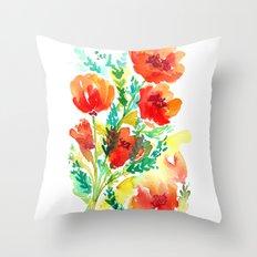 Orange Floral Throw Pillow