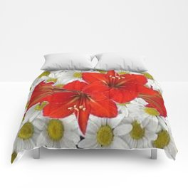 RED AMARYLLIS WHITE DAISIES FLORAL ART Comforters