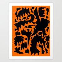 Halloween Monsters and Bats in the orange night Art Print