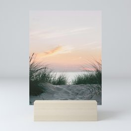 Dune grass at colourful pastel sunset   Painted sky at North Sea, Netherlands   Fine art travel photography Mini Art Print