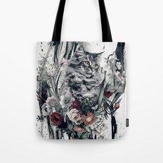 Cat in flowers Tote Bag