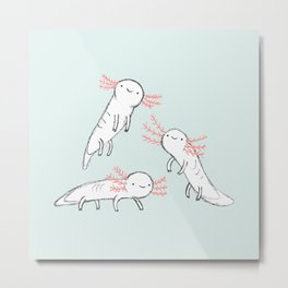 Three Little Axolotls Metal Print