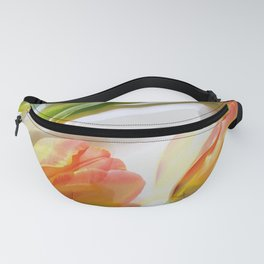 Fresh delicate flowers, tulips, double exposure. Fanny Pack