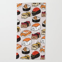 Sushi Persian Cat Beach Towel