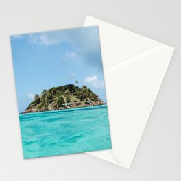 Turquoise water on paradise island of Crab Cay near Isla Providencia, Colombia, in the Caribbean Sea Stationery Cards