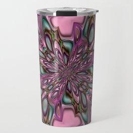 Purple digital flower arat Travel Mug