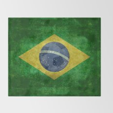 Vintage Brazilian flag with football (soccer ball) Throw Blanket