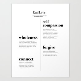 Real Love, The Art of Mindful Connection by Sharon Salzberg. Quotes from the book. Art Print