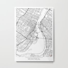 Montreal Map White Metal Print