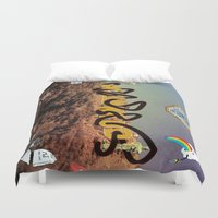 hollywood Duvet Covers featuring hollywood  by Edouard Campos