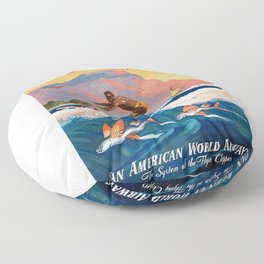 1947 Fly To Hawaii By Clipper Pan American Travel Poster Floor Pillow