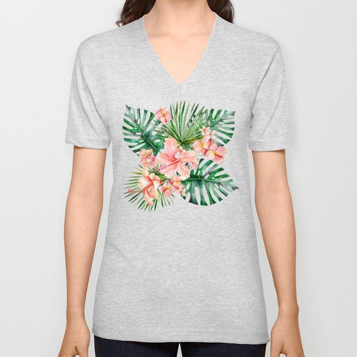 Tropical Jungle Hibiscus Flowers - Floral Unisex V-Ausschnitt
