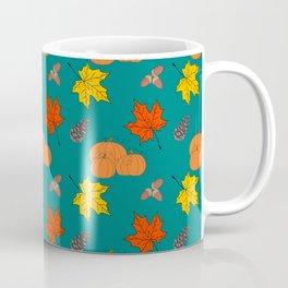 Autumn Leaves and Pumpkins Fall Illustration Pattern Coffee Mug