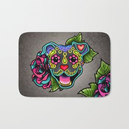 Smiling Pit Bull in Blue - Day of the Dead Pitbull Sugar Skull Bath Mat