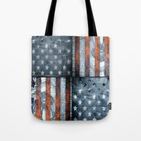 american flag Tote Bags featuring American flag by Bekim ART