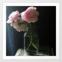 Peonies in Mason Jar Art Print