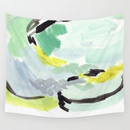 Twirl Green: Abstract Painting Wall Tapestry