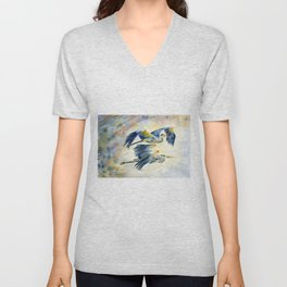 Flying Together - Great Blue Heron Unisex V-Neck