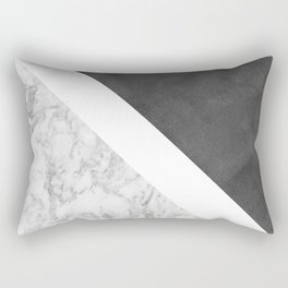 Black white geometrical abstract charcoal marble Rectangular Pillow