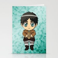 shingeki no kyojin Stationery Cards featuring Shingeki no Kyojin - Chibi Eren by Tenki Incorporated
