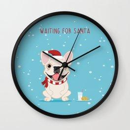 French Bulldog Waiting for Santa - Cream Edition Wall Clock