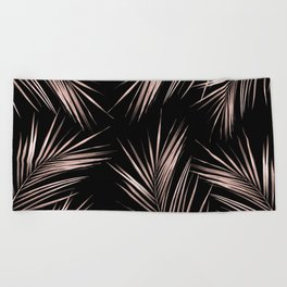 Rosegold Palm Tree Leaves on Midnight Black Beach Towel
