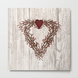 Pip Berry Heart Wreath Metal Print