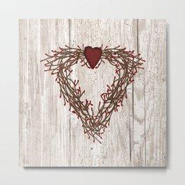 Pip Berry Heart Wreath Metal Print