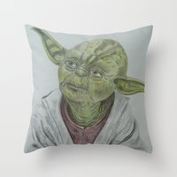 yoda Throw Pillows featuring Yoda by nosila.art
