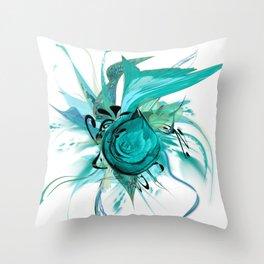 Turquoise on White by Mia Niemi Throw Pillow
