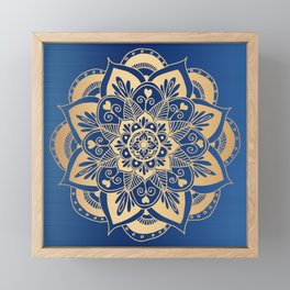 Blue and Gold Flower Mandala Framed Mini Art Print