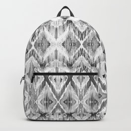 Black and White Watercolour Ikat Pattern Backpack