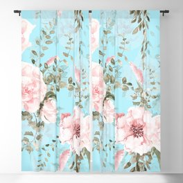 Blush Watercolor Spring Florals On Teal Blackout Curtain