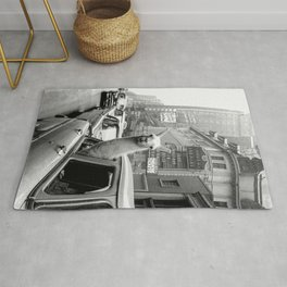 Llama Riding in Taxi, Black and White Vintage Print Rug