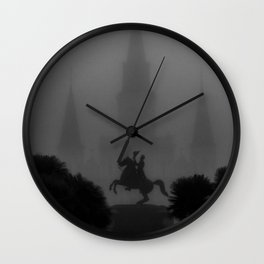New Orleans, Jackson Square in fog, French Quarter black and white photograph / black and white photography Wall Clock
