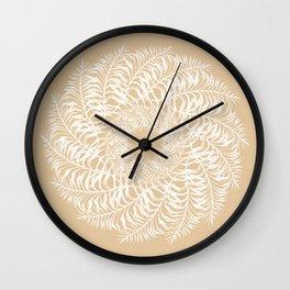 Fine Leaf Mandala Juju Design in Cream & White by Artist Jane Harris Wall Clock